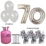 70th Birthday Silver Balloons and helium gas package