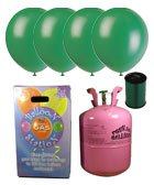 Disposable Helium Gas Cylinder with 30 Forest Green Balloons and Curling Ribbon included