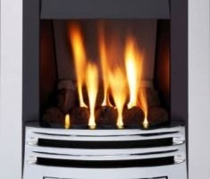 Living Flame Gas Fire Chrome 'Meridian' Slimline Gas Fire