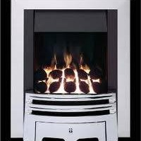 Living Flame Gas Fire Chrome 'Meridian' Full Depth Gas Fire