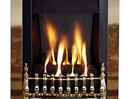 Living Flame Gas Fire Brass 'Blenhiem' Slimline Gas Fire