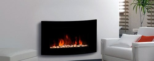 Large 2kW Black Glass Screen Wall Mounted Fireplace