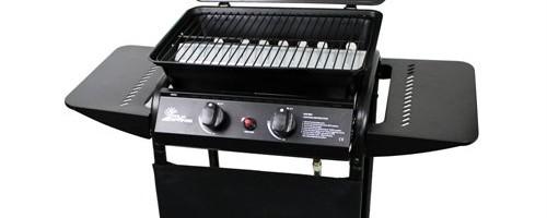 Palm Springs 2 Burner Gas Barbecue with Side Shelves, Regulator and hose