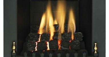 Living Flame Gas Fire Black 'Blenhiem' Full Depth Gas Fire
