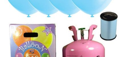 Disposable Helium Gas Cylinder with 30 Baby Blue Balloons and Curling Ribbon included