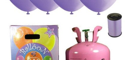 Disposable Helium Gas Cylinder with 30 Lavender Balloons and Curling Ribbon included
