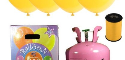 Disposable Helium Gas Cylinder with 30 Yellow Balloons and Curling Ribbon included