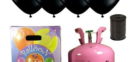 Disposable Helium Gas Cylinder with 30 Black Balloons and Curling Ribbon included