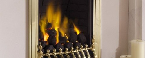 Living Flame Gas Fire Brass 'Blenhiem' Full Depth Gas Fire