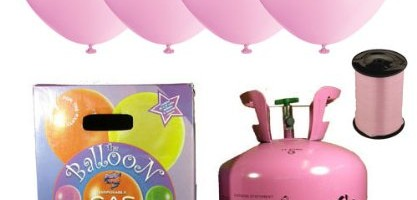 Disposable Helium Gas Cylinder with 30 Petal Pink Balloons and Curling Ribbon included